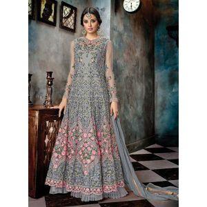 Women Salwar Kameez Anarkali Suits Grey color