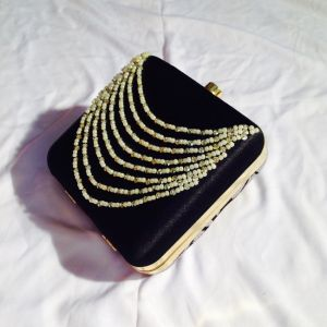 Black Color Hand Embroidered Clutch