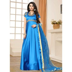 Blue color Designer-Silk Salwar Kameez