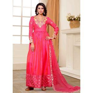 Pink color Designer-Silk Salwar Kameez