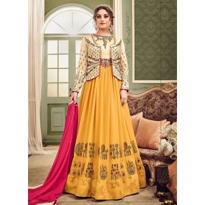 Yellow and Off White color Anarkali Suits-Georgette Salwar Kameez