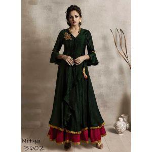 Women Long Kurti Green color Silk
