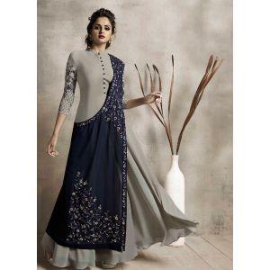 Women Long Kurti Grey color Silk