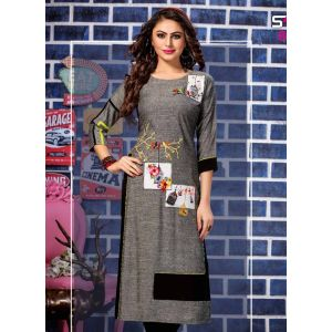 Women Ready Made Kurti Grey and Black color Formal