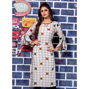 Women Ready Made Kurti White color Formal