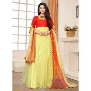 Yellow and Red color Designer-Net Salwar Kameez