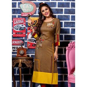 Women Ready Made Kurti Brown and Yellow color Formal