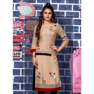 Women Ready Made Kurti Beige color Formal