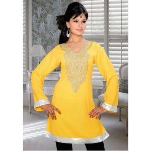Womens Kurti Yellow color Fancy style